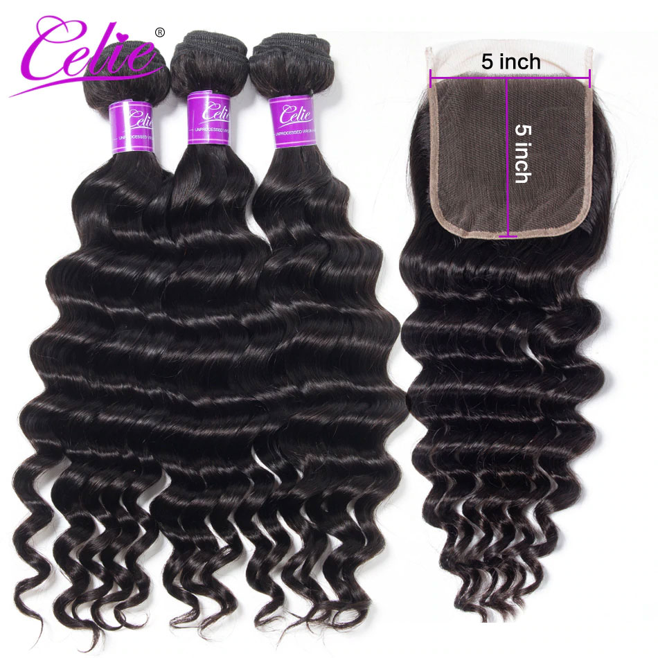 Celie Hair Brazilian Human Hair 3 Bundles With Closure 5x5 Lace Closure With Bundles Remy Hair Loose Deep Wave With Closure