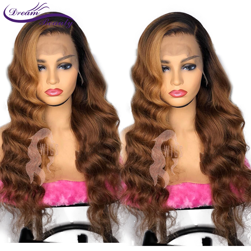 Ombre Glueless Human Hair Lace Front Wig 180 Brazilian Remy Wavy Hair Ombre Highlights Color PrePlucked