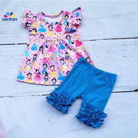 AICTON Newest Girls Boutique Clothing Sets Princess Print Pearl Dress Outfits with icing ruffle shorts