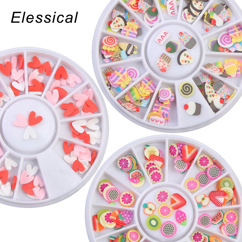 ELESSICAL Colorful Ceramic Flowers 3D Nail Wheel Charms