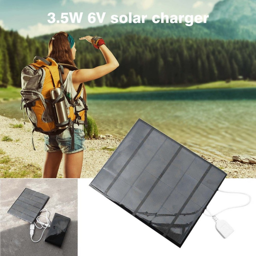 Solar Panel Power Bank 3.5W 6V USB Charger Mobile Phone External Battery Charger Outdoor Travelling Charger for cellphone Tablet