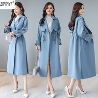 High Quality 2018 Autumn Winter Fashion Temperament Slim Windbreaker Women Turn down Collar Long Sleev Skirt Trench Coats C2213