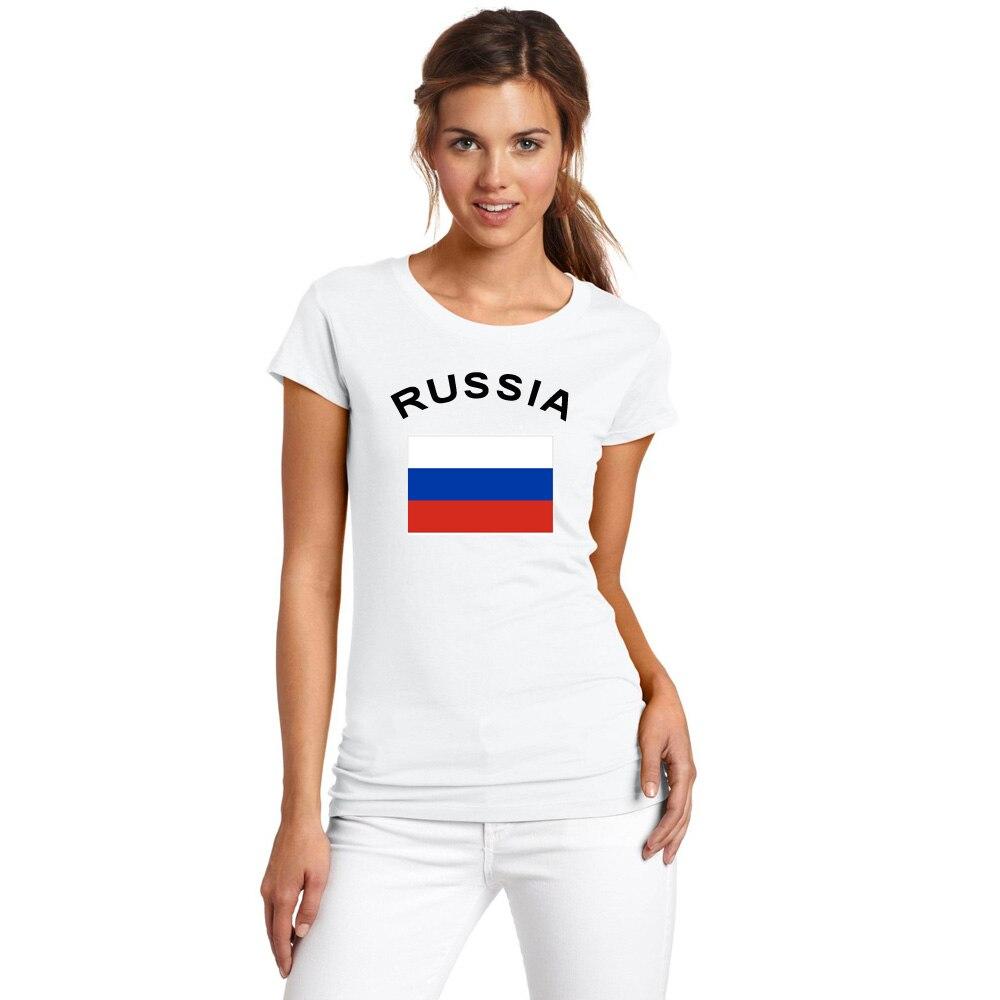 BLWHSA Nově příchozí letní národní vlajka s potiskem RUSKO Fanoušci fandit ženám ležérní tričko 100% bavlna tričko s krátkým rukávem