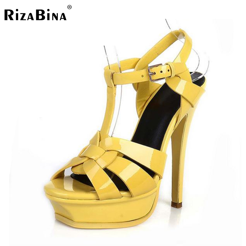 Фотография RizaBina free shipping quality genuine leather high heel sandals women sexy footwear fashion lady shoes R4425 hot sale 33-40
