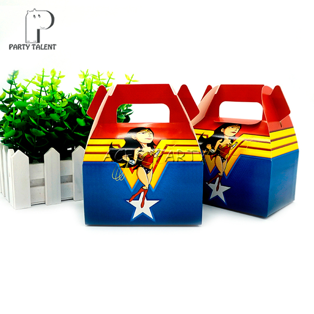 24pcslot Candy Box Gift Bags for Kids Children Wonder Woman Theme