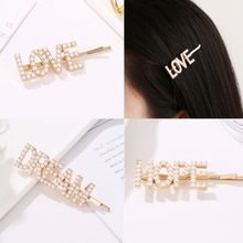 3Pcs/Set Women Metal Alloy Hair Clip Pretty Love Hope Dream Letters Faux Pearl Hairpin Wedding Side Bangs Hair Styling Accessory