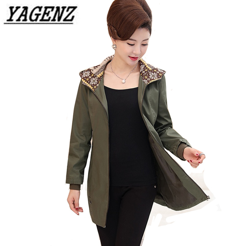 Women's hooded Windbreaker 2018 Spring Loose Long-sleeved Women Outerwear Large size Medium-long Casual Female Trench Coats 5XL