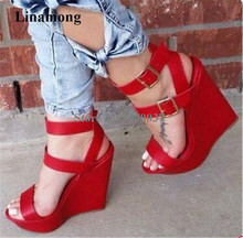 Women Fashion Design Open Toe Red Leather High Platform Wedge Sandals Ankle Buckle Straps Height Increased Sandals Club Shoes цены