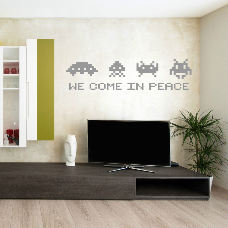 Space Invaders Decoration Wall Sticker Funny Game Vinyl Wall Decals For Kids Room/Bedroom