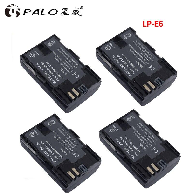 PALO 4 Pcs 2000 mAh LP-E6 LP E6 LP-E6N Caméra Batterie Pour Canon EOS 5D 5D Mark II Mark III 6D 7D 60D 60Da 70D 80D DSLR EOS 5DSR