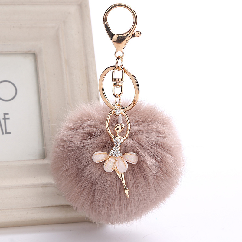 Faux Rabbit Fur Keychain Cute Dancing Girl Pompom Angel Key Chain Fluffy Pom Pom Ballet Girl Keyring Bag Women Jewelry chaveiro fluffy for keychain fake rabbit fur ball pom pom cute charms pompom gifts for women car bag accessories
