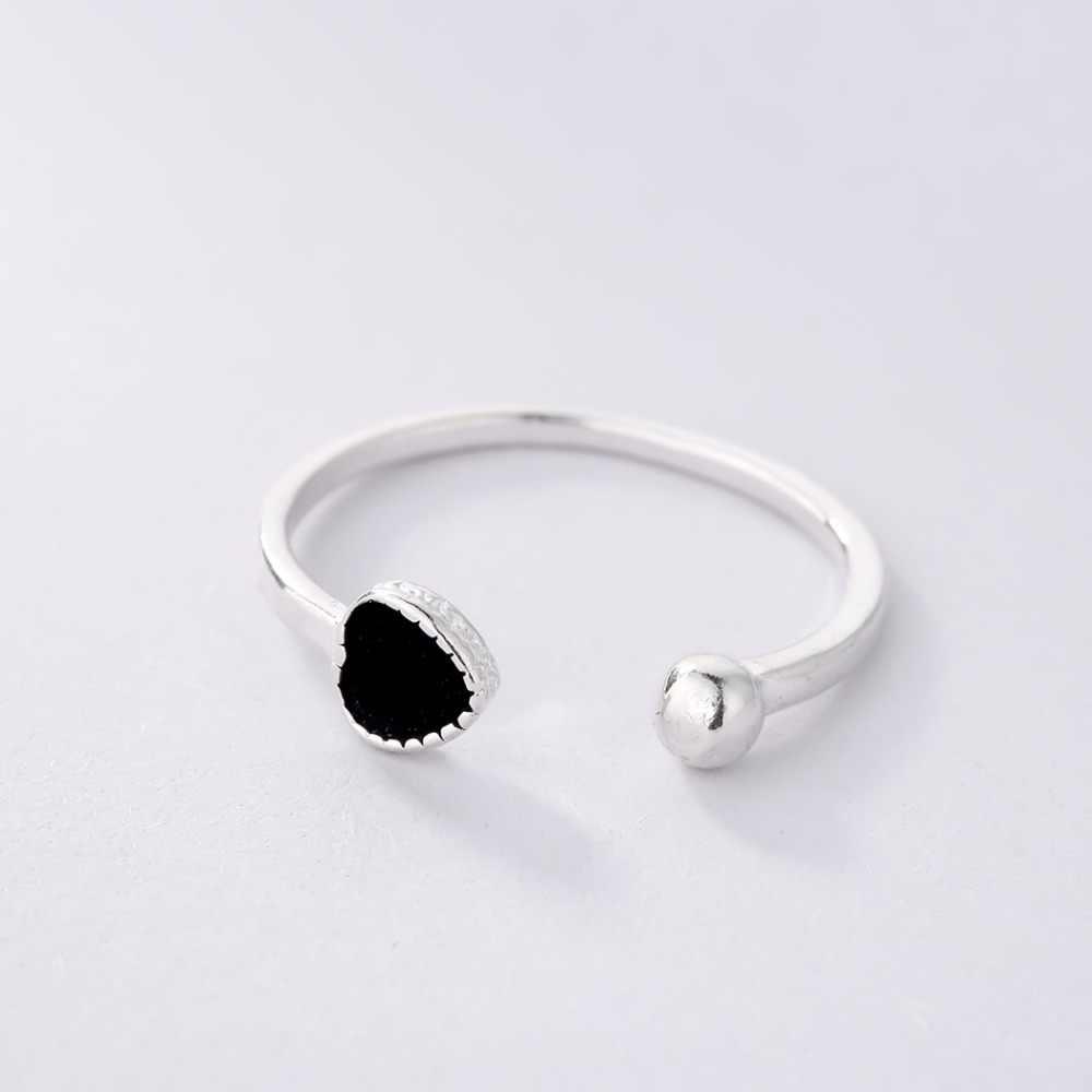 Cxwind แฟชั่นเคลือบสีดำหัวใจแหวน Love Letter Lucky Cross ปลาเล็บรอบแหวนเครื่องประดับสำหรับของขวัญผู้หญิง