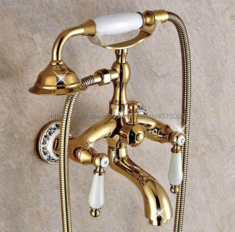 Golden Wall Mount Bathtub Bathroom Faucet Telephone Style Mixer Faucet Tap with Dual Handle Handshower Ntf414Golden Wall Mount Bathtub Bathroom Faucet Telephone Style Mixer Faucet Tap with Dual Handle Handshower Ntf414