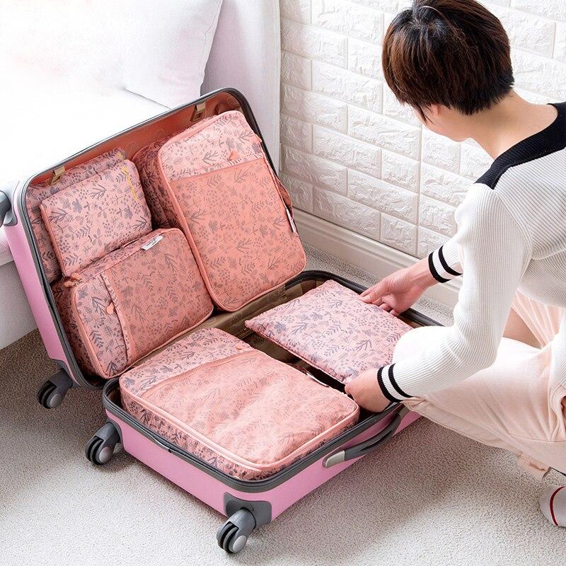 Style coréen 6 pièces femmes voyage sac à main organisateur de bagages ensemble haute capacité étanche sous-vêtements tissu stockage finition sac