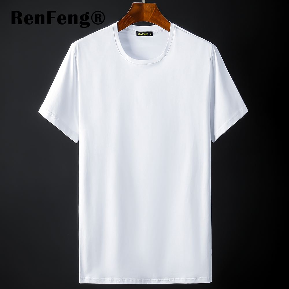 New Blank black Mercerized Cotton Short Sleeve Men\`s T-Shirt Underwear Round Collar Ice Silk Cool T-Shirt Slim Blusa Tops Summer (10)