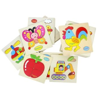 цена Baby Toys Cute Cartoon Animals Wooden Puzzle Children Tangram Shape Puzzle Intelligence Kids Educational Gifts Educational Toys онлайн в 2017 году