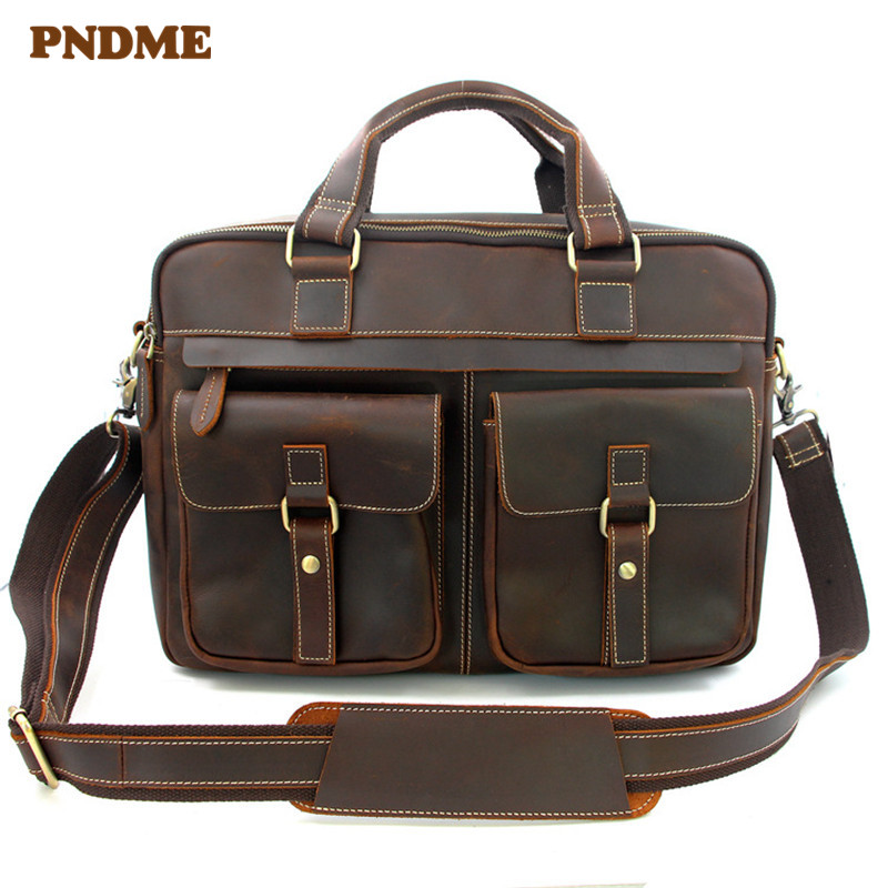 PNDME Business Retro Genuine Leather Men's Briefcase High Quality Crazy Horse Cowhide Messenger Bags Large Capacity Laptop Bags