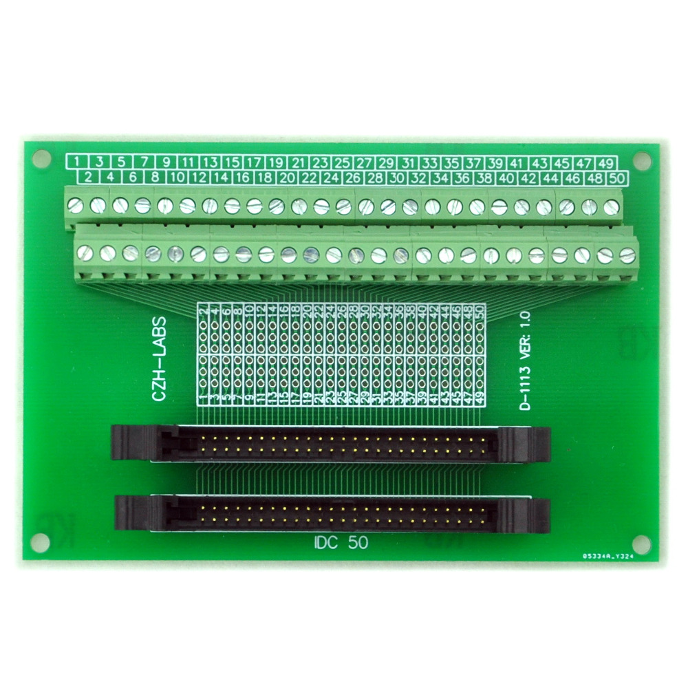 IDC-50 2x25pins 2.0mm Dual Male Header Breakout Board, Screw Terminal Connector.
