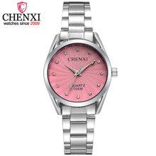 CHENXI модные женские туфли Розовое платье Часы роскошная женская Повседневное часы дамы горный хрусталь кварц-часы Наручные Часы Relogio feminino