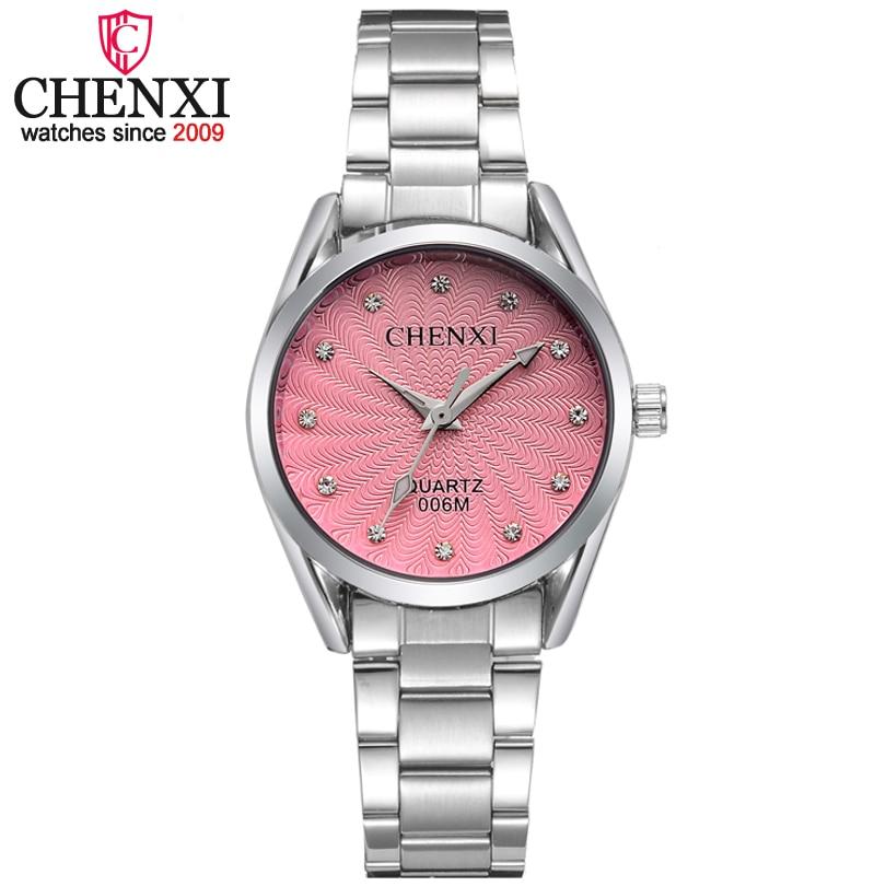 Chenxi moda mujer vestido rosa relojes de lujo casual reloj rhinestone cuarzo-reloj relojes Relogio feminino