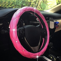 Car Steering Wheel Cover PU Leather Covers With Rhinestone Pink Black 38cm SizeM Soft For Auto Car Truck Skidproof Car Styling