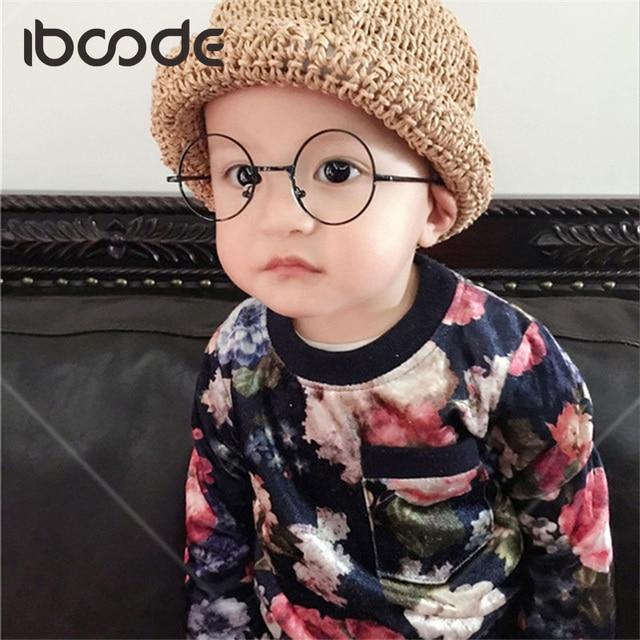 iboode Vintage Children Clear Lens Glasses Unisex Cute Kids Plain Eyeglasses Eyewear Girls Boys Alloy Frame Decoration Glasses