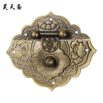 [Haotian vegetarian Chinese antique jewelry box] bronze fittings copper box buckle clasp HTN-076