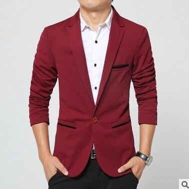Корейский Стиль Мужчины Повседневная Blazer Masculino Slim Fit Плюс Размер Стильные Пиджаки Для Мужчин 4XL 5XL Черный Синий Хаки Красный