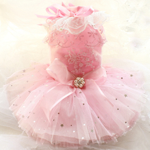 Free shipping Advanced custom Pink all stars full 12layers soft fluffy tulle luxury dog dress pet tutu poodle Yorkshire clothing