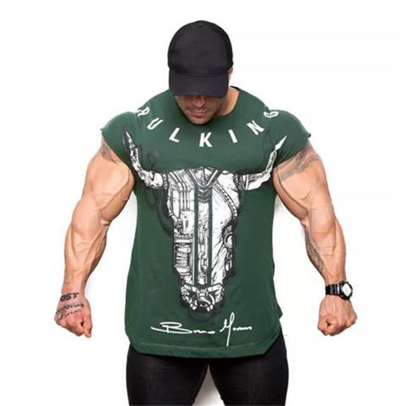 2018 Cotton Gym Shirt Sport T Shirt Men Short Sleeve Running Shirt Men Workout Training Tees Fitness Top Sport T-shirt Rashgard round neck color block spliced splash ink print short sleeve men s sport suit t shirt shorts