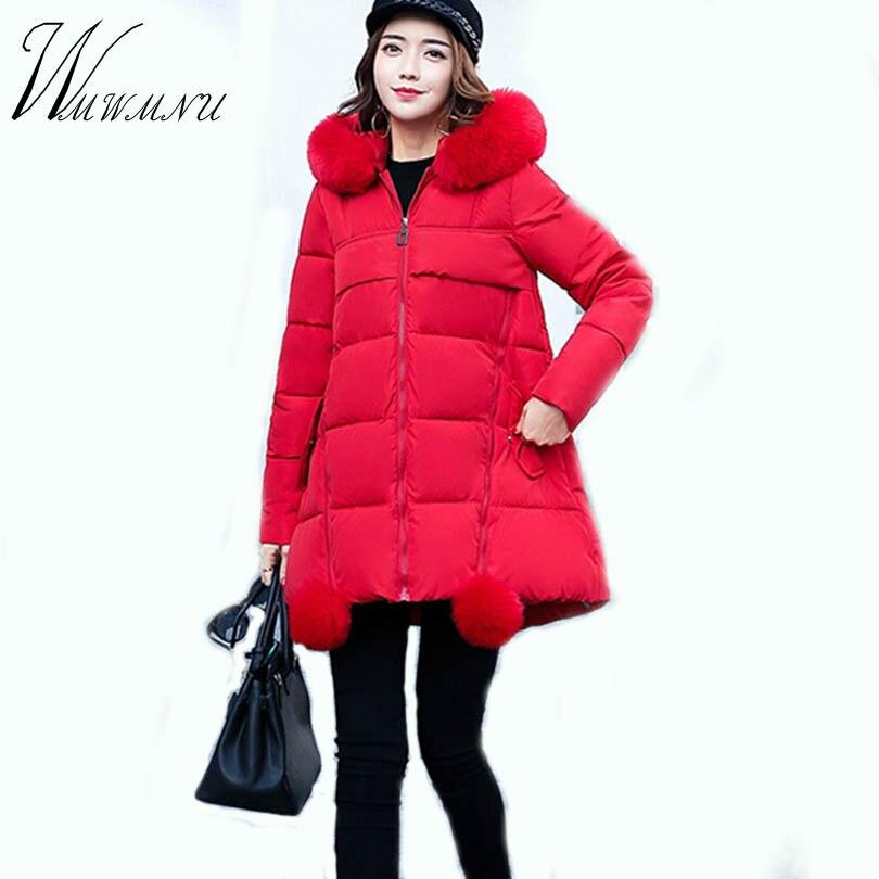 Wmwmnu Pregnant omen Jacket Cotton Clothing Casual Women Coat Plus Size Medium-Long Winter Jacket Fur Collar Solid Outwear 075