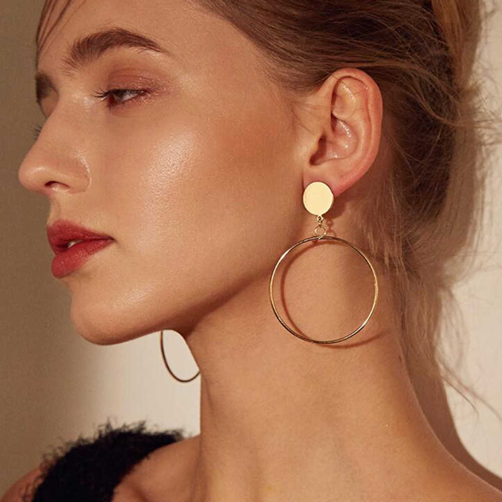Simple Trendy Gold Sliver Color Geometric Big Round Circle Earrings For Women Fashion Large Hollow Dangle Drop Earrings Jewelry