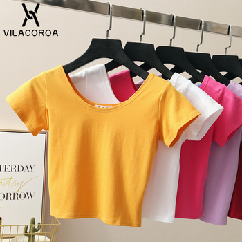 Harajuku Sexy Crop Top Female T-Shirt Poleras Mujer Round Neck Short Sleeve Cotton Tops Short T-Shirt Femme Kawaii T Shirt Women 1