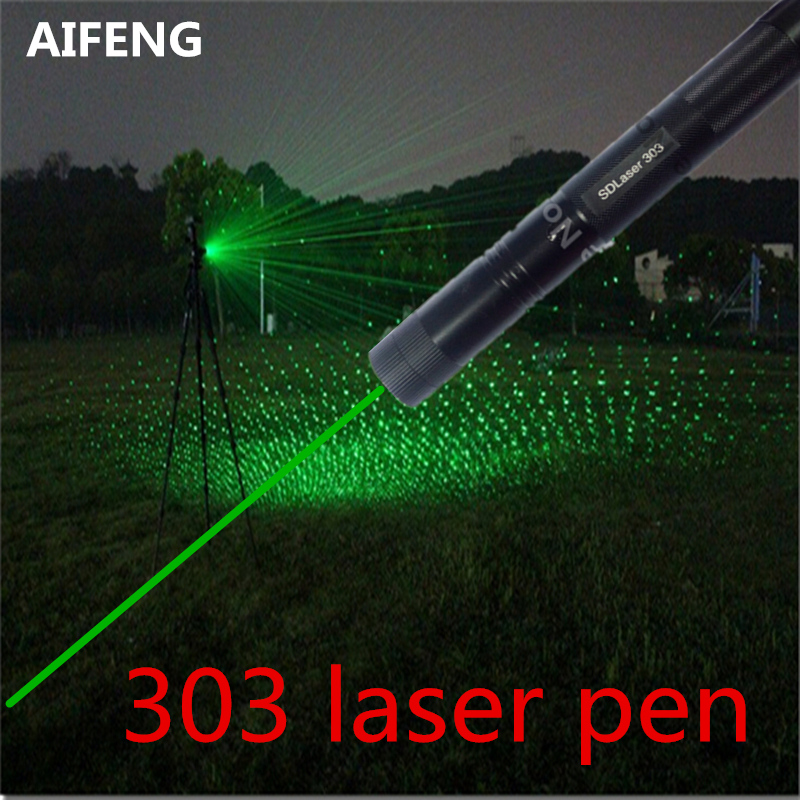Vert Pointeur Laser, 532 5 mw 303 Laser Stylo Puissant Lazer Pointeur Avec Étoilé Tête Match Réglable partout dans le ciel étoile scène