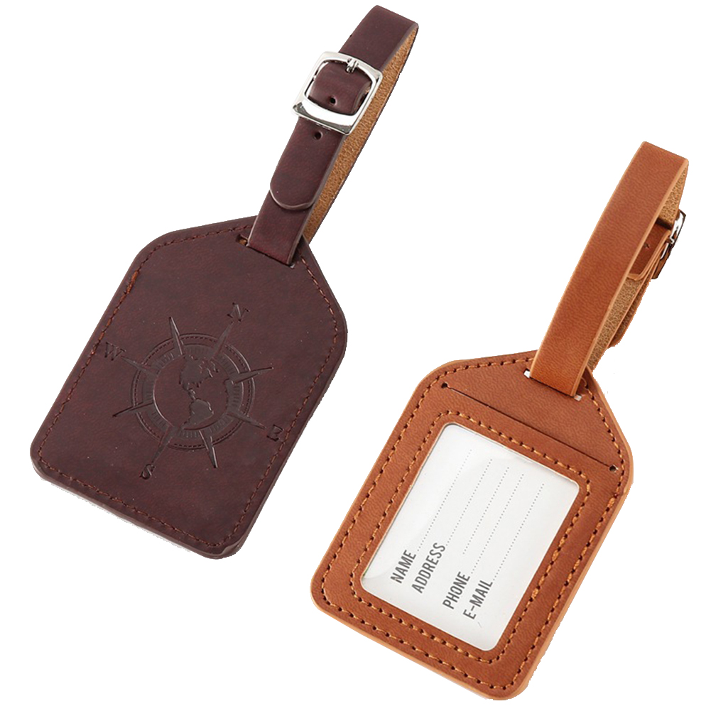 Practical Portable Adjustable Buckle Luggage Tag Anti-lost Travel Wear Resistant PU Leather Vintage Style Label Bag Carrying