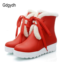 Gdgydh Black Warm Winter Shoes Women Flat Heels Plush Inside Platform Cheap Cotton Snow Boots For Winter Lacing Good Quality