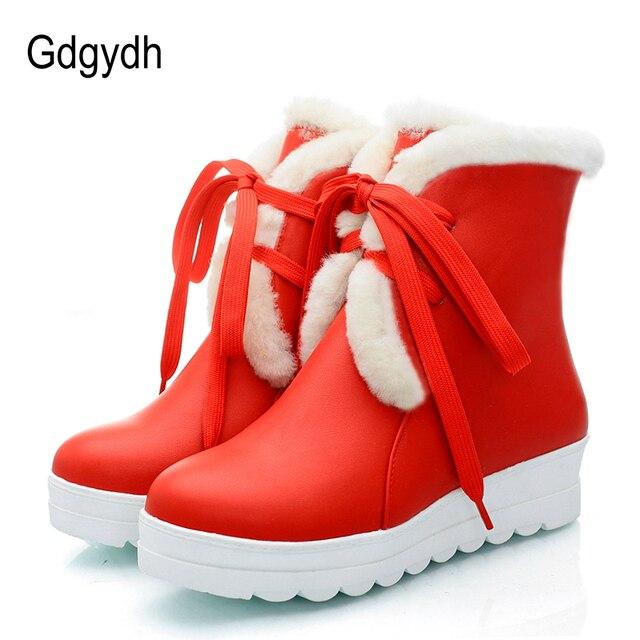 Gdgydh Preto Inverno Quente Sapatos Das Mulheres Saltos Lisos Lacing Plataforma de Pelúcia Dentro de Botas de Neve Para O Inverno de Algodão Barato de Boa Qualidade