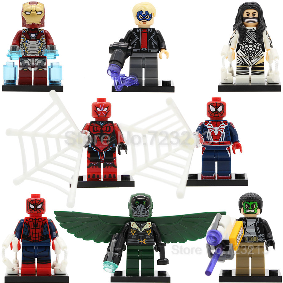 Single Sale Super Hero Iron Man Vulture figure Game Spider Man Ends of the earth Silk Masked Robber Building Blocks Models Toys ...