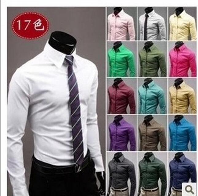 New Mens Formal Business Shirts Casual Slim Fit Long Sleeve Dresse Shirts Summer 2017 Hot Sale High Quality