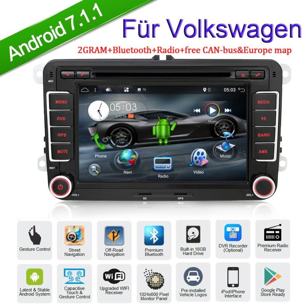 2 Din Autoradio Android 7.1.1 Voiture Stéréo pour Volkswagen GOLF MK5 MK6 JETTA PASSAT B6 POLO SKODA Fabia navigation gps USB /SD wifi