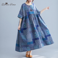 BelineRosa National Style Patchwork Pattern Print Oversized Style Plus Size Dress 4XL 5XL 6XL Big Waist Dress Big Sizes AWJ00003