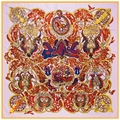 100% Twill Silk Scarf Woman Spain Palace Print Big Hijab Vintage Design Luxury Brand Kerchief Fashion Neck Shawls and Wrap