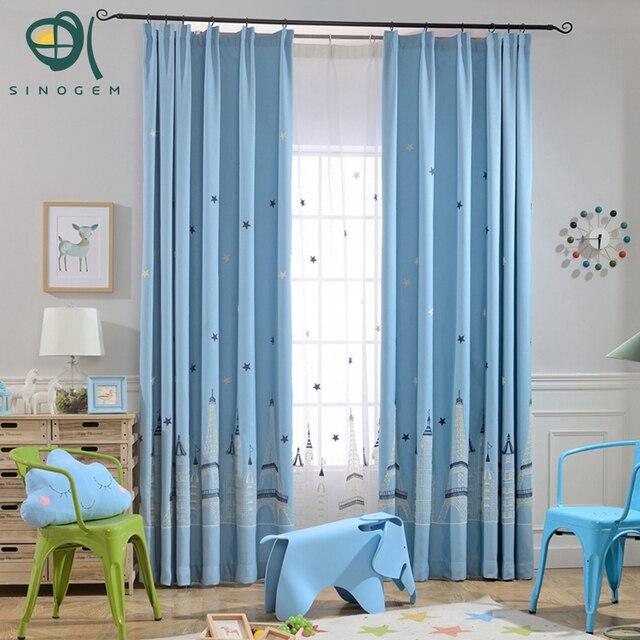 Sinogem Kids Baby Room Cartoon Curtains Blue Castle Printed Children  Bedroom Living Room Curtain Drapes Panel Window