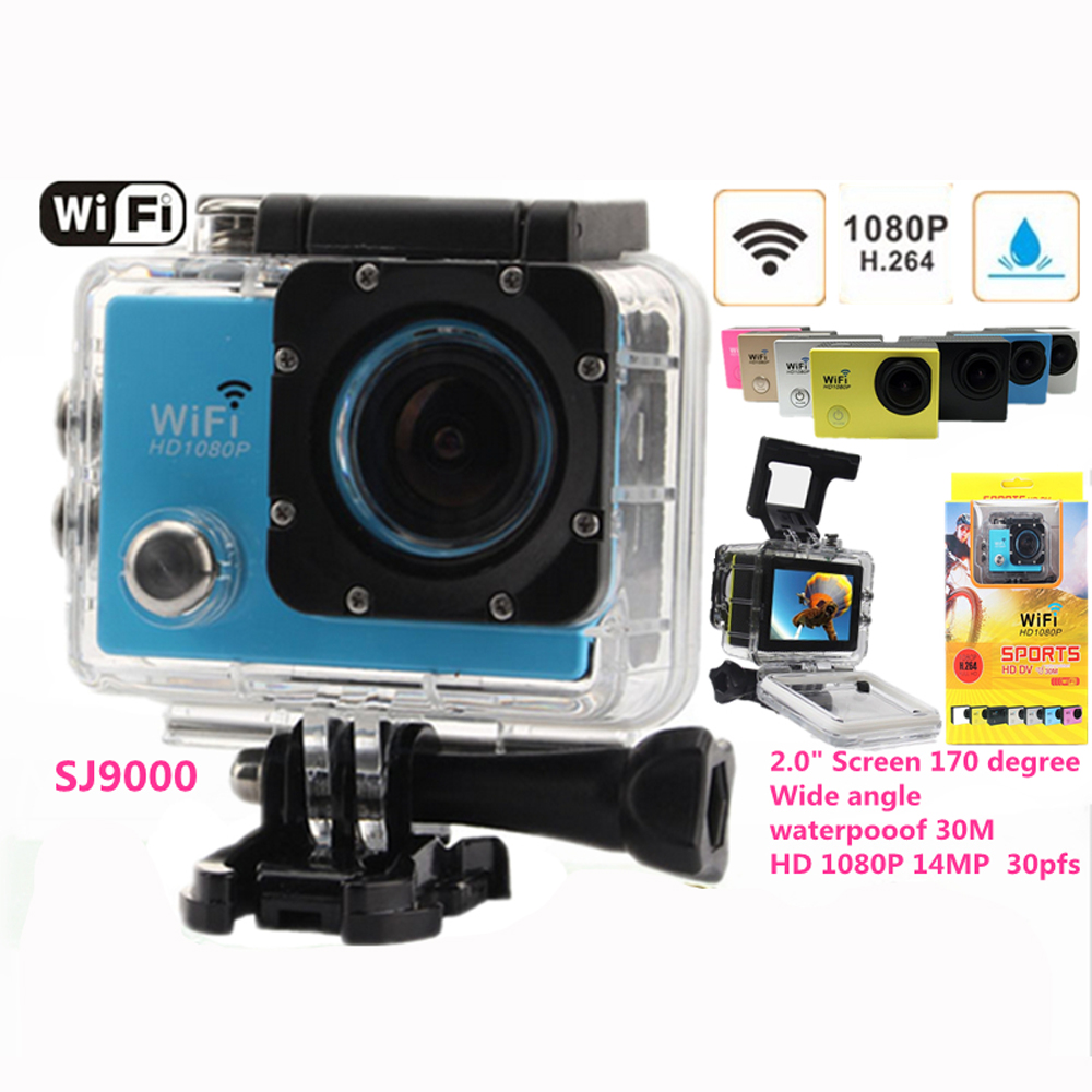 ФОТО Action camera HD Camera SJ9000 1080P 2.0 Inch 14MP Double wifi Waterproof Diving Sport Camera DV FPV DVR Helmet Video Camera