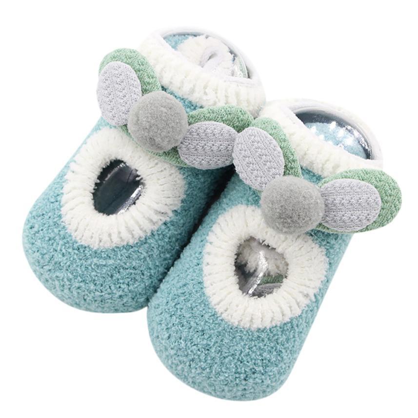 Arloneet Newborn kids cute soft cartoon socks Baby Boys Girls Cartoon Ears Floor Socks Anti-Slip Baby Step Socks x1001
