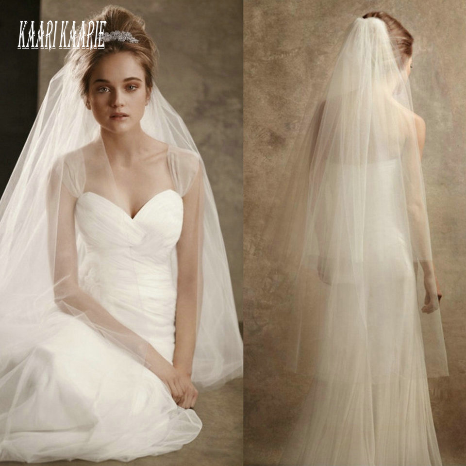 Elegant White Wedding Veil Fingertip Long 2020 Cheap Bridal Yashmac Tulle Ivory Bride Accessories 120cm Women Veils With Comb