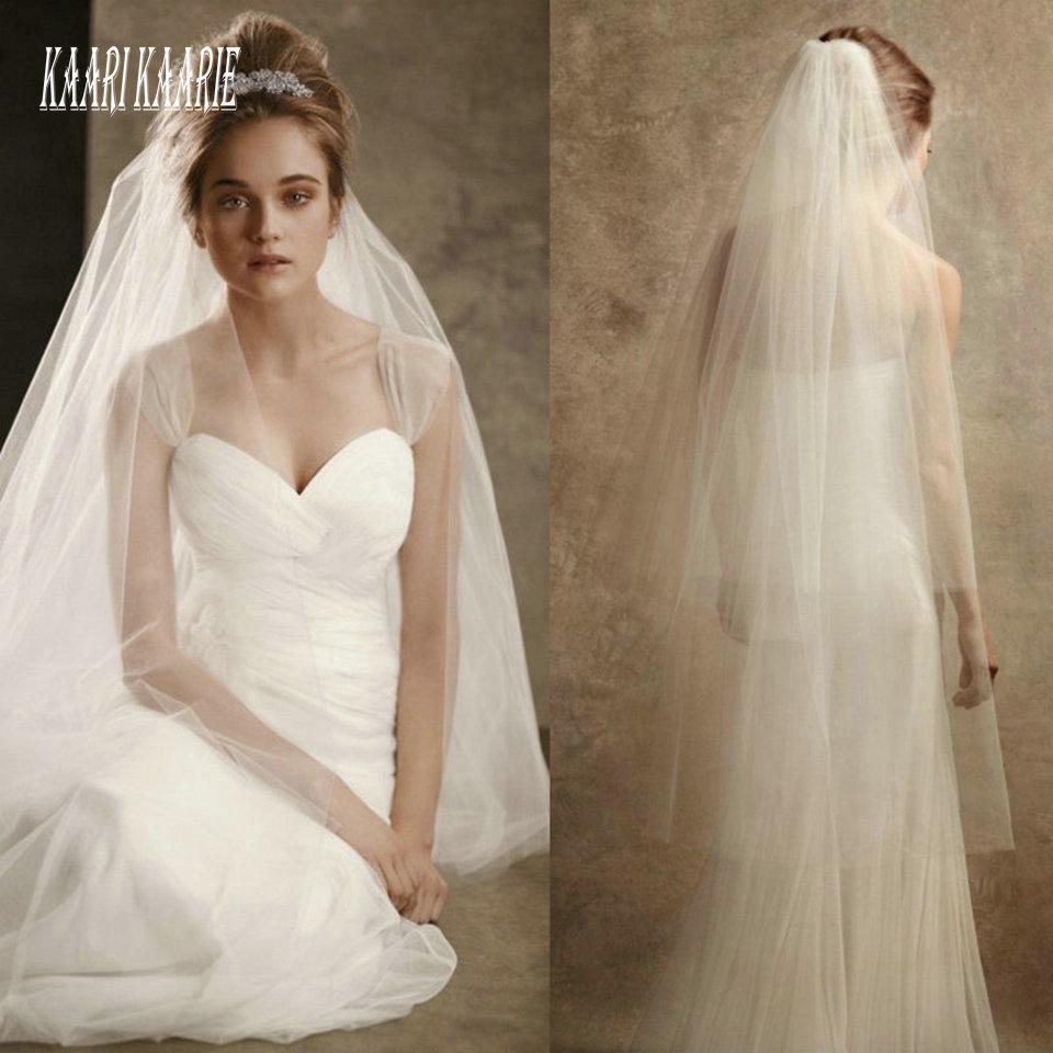 Elegant White Wedding Veil Fingertip Long 2020 Cheap Bridal Yashmac Tulle Ivory Bride Accessories 120cm Women Veils With Comb