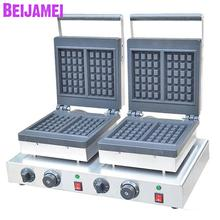 BEIJAMEI baking equipment wholesale double head waffle maker machine electric 220V 110V double head square waffle machines