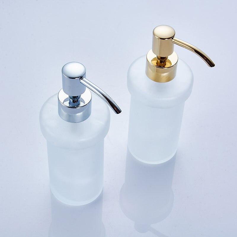 Distributeur de savon liquide distributeur de savon de couleur or de luxe fixé au mur avec bouteille de récipient en verre dépoli produits de salle de bains HK-38 - 4