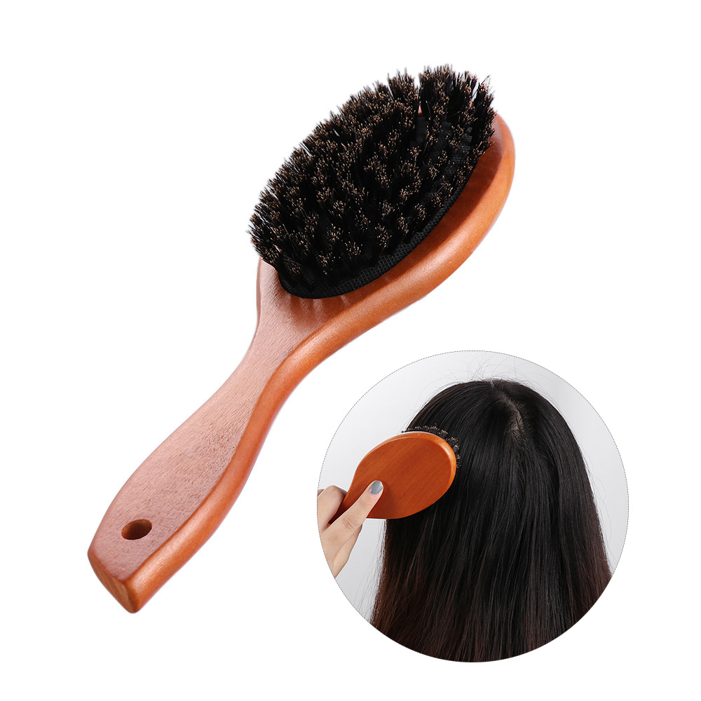 Portable Natural Boar Bristle Brush Comb Scalp Massage Hairdressing Comb Anti-static Oval Hair Styling Comb